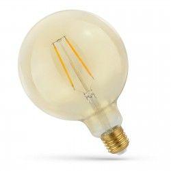 E27 Stor fatning 2W LED globepære - Kultråd, rav farvet glas, ekstra varm, E27