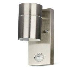 Udendørs væglamper V-Tac væglampe m. sensor - IP44 udendørs, rustfri, GU10 fatning, uden lyskilde