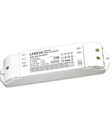 Ltech 30W dæmpbar driver til LED panel - Triac + push-dim, flicker free, passer til 6W+12W små paneler og 29W store paneler