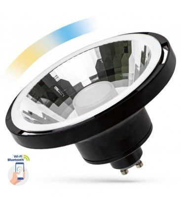 10W Sort Smart Home LED spot - Virker med Google Home, Alexa og smartphones, GU10 AR111