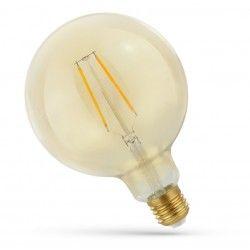 E27 Stor fatning 5W LED globepære - Kultråd, rav farvet glas, ekstra varm, E27