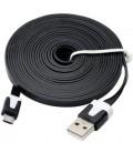 3 meter Micro USB kabel. Fladt design.