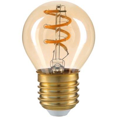 3W LED pære - Kultråd, røget glas, G45, E27, 230V - Dæmpbar : Ikke dæmpbar, Kulør : Varm