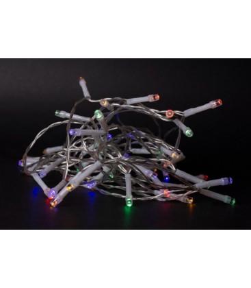 1 m. multicolor LED julelyskæde - 10 LED, indendørs, batteri