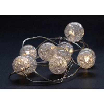 1 m. kugle LED julelyskæde - 10 LED, indendørs, varm hvid, batteri