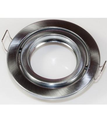Downlight kit uden lyskilde. Børstet lakeret nikkel design. Rund model. Incl. keramisk fatning til Gu10 eller Mr16.