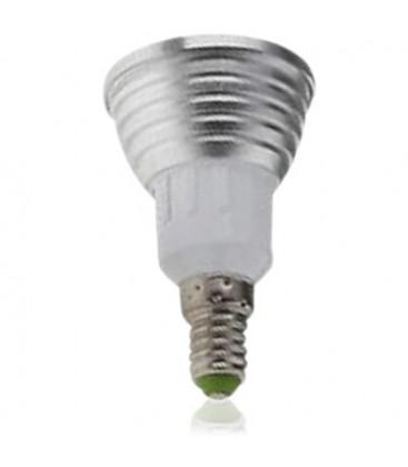 Lille fatning E14, RGB 1 LED spot, 3W, 230V, med fjernbetjening