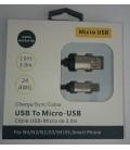 3 meter Micro USB kabel. Deluxe rustfri stål