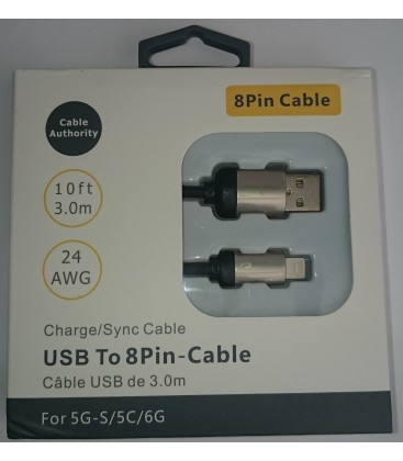 3 meter Iphone 5/6 kabel. Deluxe rustfri stål. Sort eller hvid.