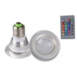 E27 Stor fatning RGB3 - LED pære, 3W, 230V, fjernbetjening, E27