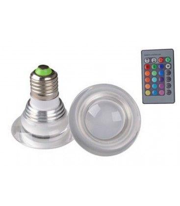 RGB3 - LED pære, 3w, 230v, fjernbetjening, E27