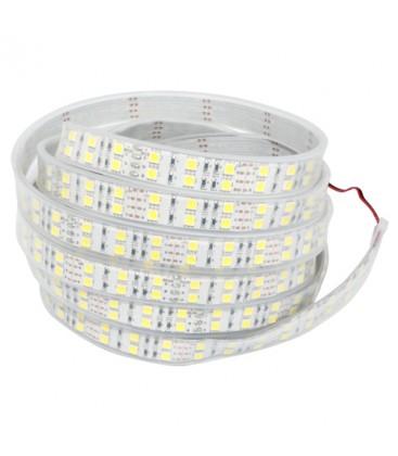 5m dobbelt række LED strip vandtæt, 12V, Varm hvid, 120 LED, 28,8w pr. meter!