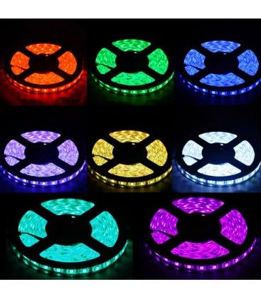 14w RGB vandtæt LED strip - 5m, IP68, 60 LED, 14w pr. meter!