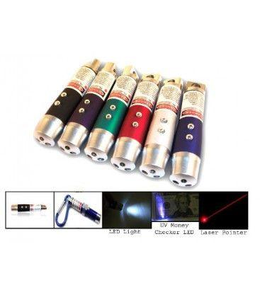 3-i-1 - Laserpointer, lommelygte og UV lampe
