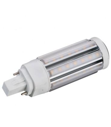G24D LED pære, 230v, 9w, materet glas, Varm hvid