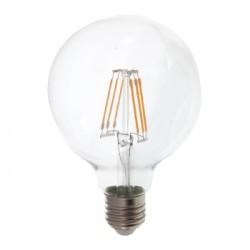 V-Tac 6W LED globepære - Ø9,5 cm, Kultråd, varm hvid, E27