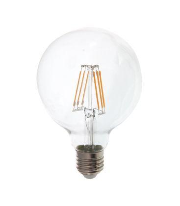 V-Tac 6W LED globe pære - Ø9,5 cm, Kultråd, varm hvid, E27