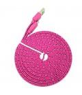 3 meter Micro USB kabel. Nylon. Fladt design. Flere farver