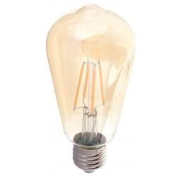 V-Tac 4W LED pære - Kultråd, røget glas, ekstra varm, 2200k, ST64, E27