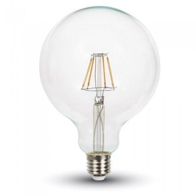 Image of   V-Tac 4W LED globepære - Kultråd, Ø12,5 cm, dæmpbar, E27 - Kulør : Varm, Dæmpbar : Dæmpbar