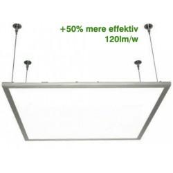LED Panel 60x60 med ophæng - 36w, 4200 lumens, hvid kant + 120lm/w