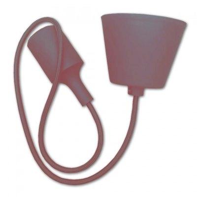 Image of   V-Tac Brun pendel med stofledning - 230V, E27 silikone fatning