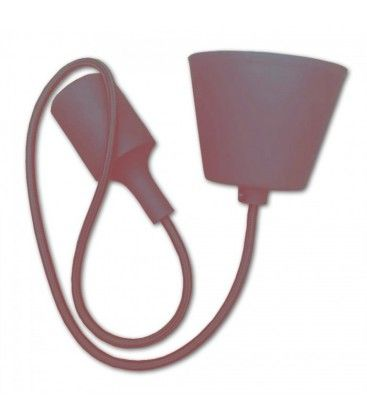 V-Tac silikone pendellampe med stofledning - Brun, E27