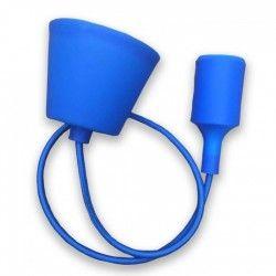 V-Tac Blå pendel med stofledning - 230v, E27 silikone fatning