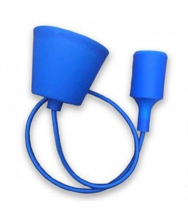 V-Tac silikone pendellampe med stofledning - Blå, E27