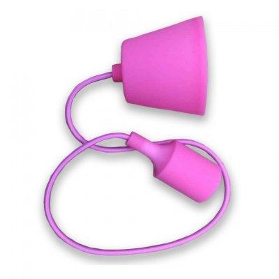 Image of   V-Tac Pink pendel med stofledning - 230V, E27 silikone fatning
