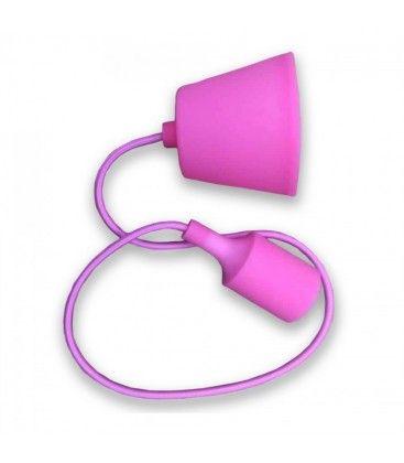 V-Tac silikone pendellampe med stofledning - Pink, E27