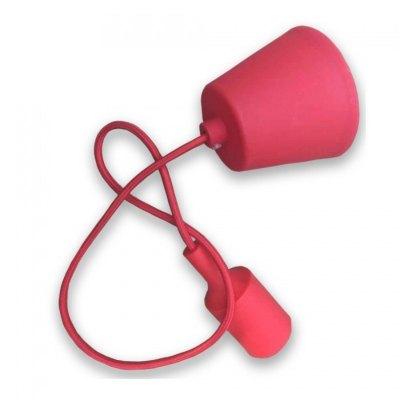 Image of   V-Tac Rød pendel med stofledning - 230V, E27 silikone fatning