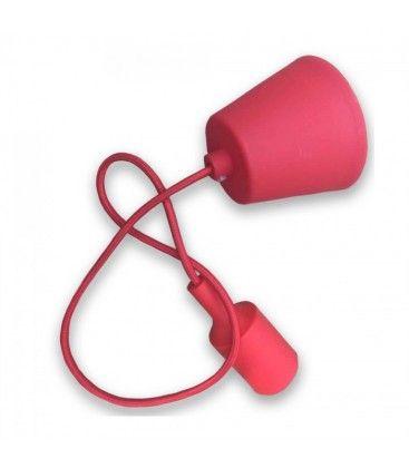 V-Tac silikone pendellampe med stofledning - Rød, E27
