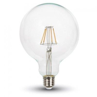 Image of   V-Tac 10W LED globepære - Kultråd, Ø12,5 cm, E27 - Kulør : Varm, Dæmpbar : Ikke dæmpbar