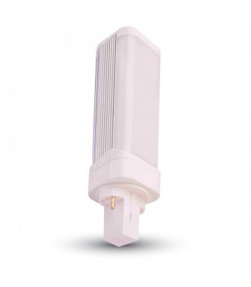 V-Tac G24D LED pære - 10w, 120 grader, varm hvid, mat glas, roterbar