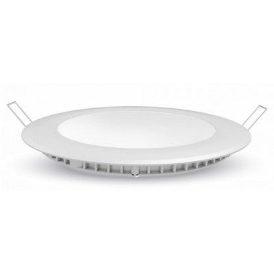 Image of   V-Tac 6W LED indbygningspanel - Hul: Ø10,5 cm, Mål: Ø12 cm, 230V - Kulør : Kold, Dæmpbar : Ved tilkøb