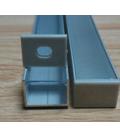 Bred aluprofil Type W til IP68 og 230v LED strip - 1 meter, materet glas. Gør det selv