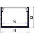 Aluprofil Type W til IP65 og IP68 LED strip - Bred, 1 meter, inkl. matteret cover og klips