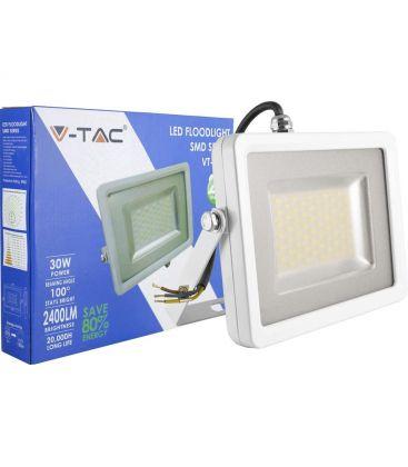 V-Tac 30W LED Projektør - Ny model, Tynd, SMD, 2400lm, Varm hvid