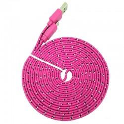 3 meter Iphone 5/6 USB kabel. Nylon. Fladt design. Pink