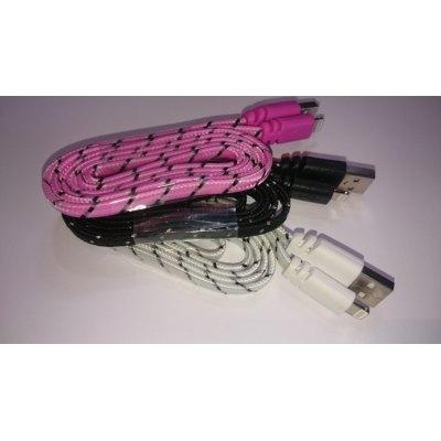 Image of   1 meter Micro USB kabel. Nylon. Fladt design. Flere farver - Farve : Hvid