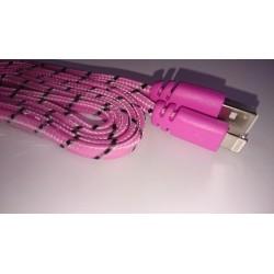 1 meter iPhone USB kabel. Nylon. Pink