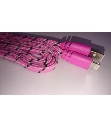 1 meter Iphone USB kabel. Nylon. Fladt design. Flere farver