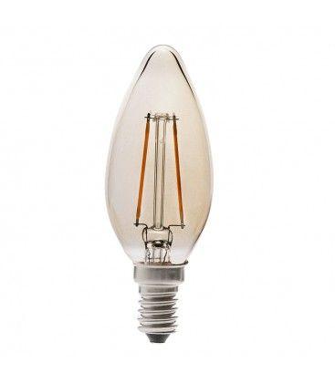 V-Tac 4W LED kertepære - Kultråd, røget glas, ekstra varm, E14