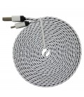 3 meter Micro USB kabel. Nylon. Fladt design.