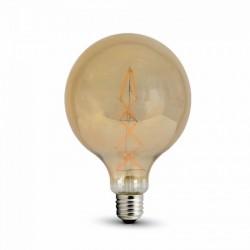 V-2018: V-Tac 8W LED globe pære - Kultråd, G125, ekstra varm hvid, E27