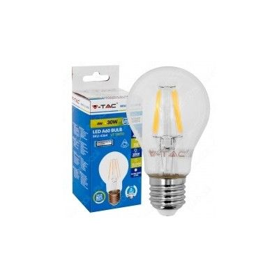 Image of   V-Tac 4W LED pære - Kultråd, varm hvid, E27 - Kulør : Varm, Dæmpbar : Dæmpbar