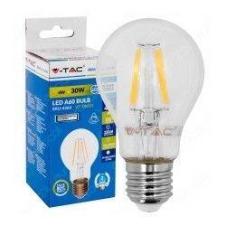 E27 Stor fatning V-Tac 4W LED pære - Kultråd, varm hvid, E27