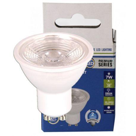 V-Tac 7W LED spot - Fokuseret 38 grader, Dæmpbar, 550lm, Varm hvid, GU10