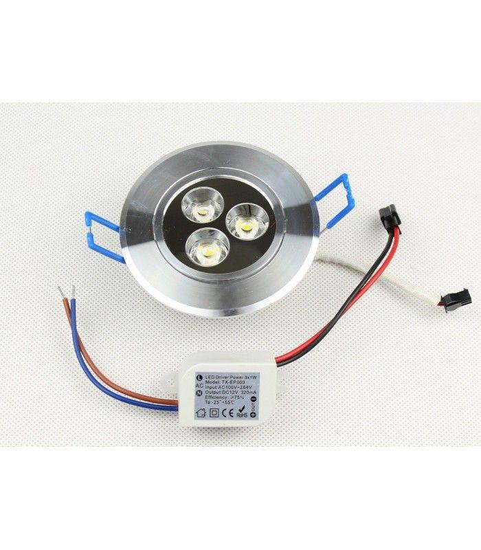 Splinterny Downlight Dæmpbar LED indbygningsspot på 3W og 40mm høj UX09